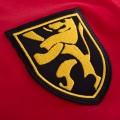 Détail de l'écusson du maillot de foot rétro de la Belgique des années 60, le lion des armoiries de la Belgique.