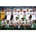 Photo de l'équipe de foot du bloc de l'Est de l'Union Soviétique, CCCP avec le maillot blanc sur le terrain de jeu