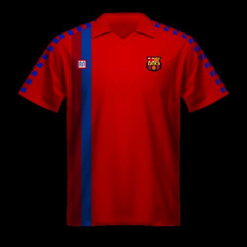 Maillot FC Barcelone 1988/89, troisième maillot rouge