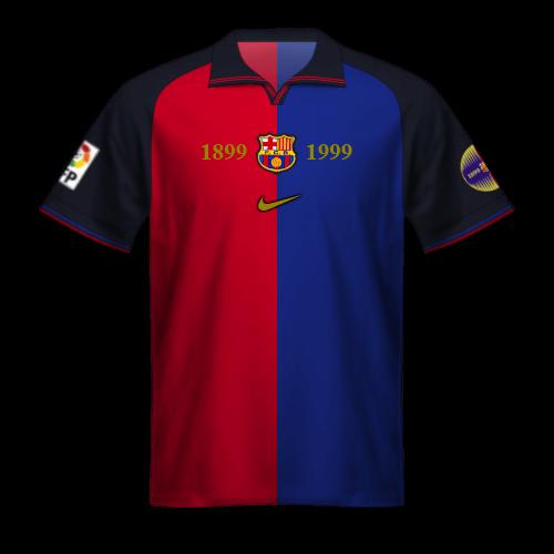 Maillot FC Barcelone 1999/00 Nike: centenaire FCB