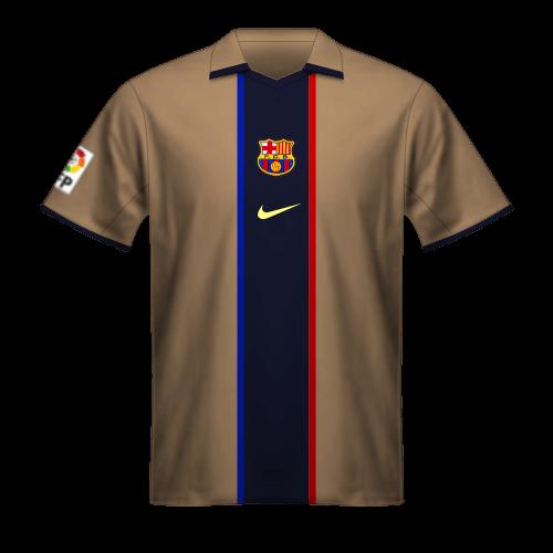 Maillot FC Barcelone 2001/02 extérieur couleur dorée