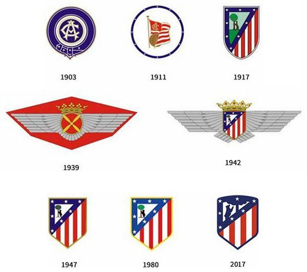 Evolucion del escudo del Atletico Madrid en la historia